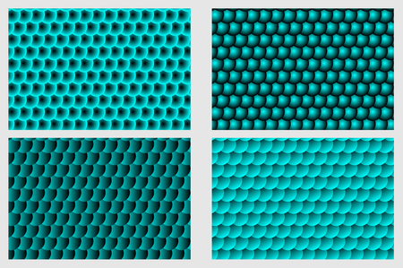 Fish scale pattern, Simple circular background - blue set - vector circle pattern