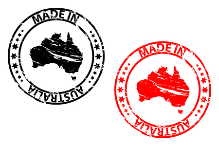 Made in Australia rubber stamp vector. Australia continent map pattern in black and red Vettoriali