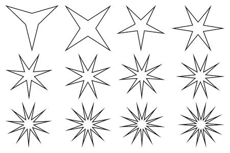 Star vector set on white background