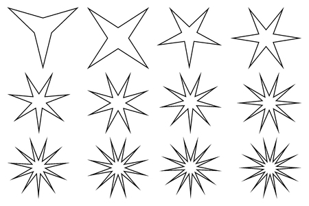 Star vector set on white background