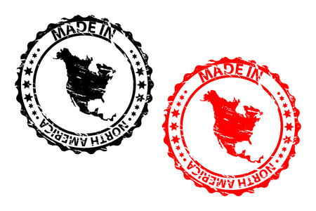 Made in North America rubber stamp, North America continent map pattern in black and red. Illustration