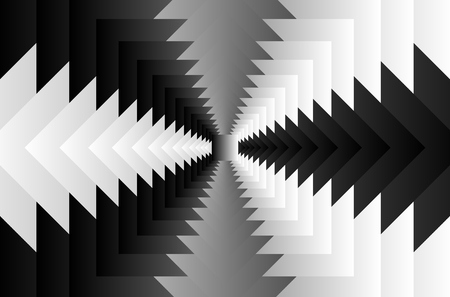 Rotating concentric squares, Square optical illusion pattern - black and white, Geometric abstract background Illustration