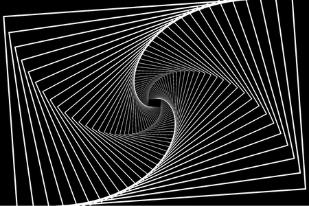 Rotating concentric rectangle, Square optical illusion pattern - black and white, Geometric abstract background Vettoriali