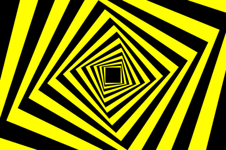 Rotating concentric squares, Square optical illusion pattern - black and yellow, Geometric abstract background