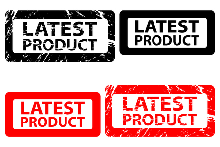 Latest product rubber stamp Vector illustration in black and red.