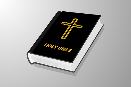 Holy book, Book with cross - vector illustration - black and yellow, Holy bible,