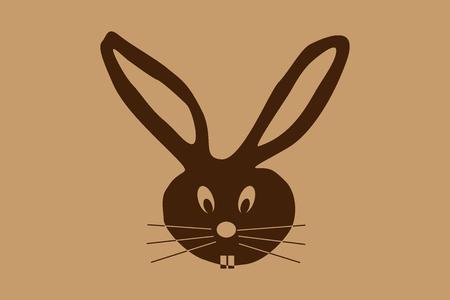 rabbit head vector illustration on brown background.
