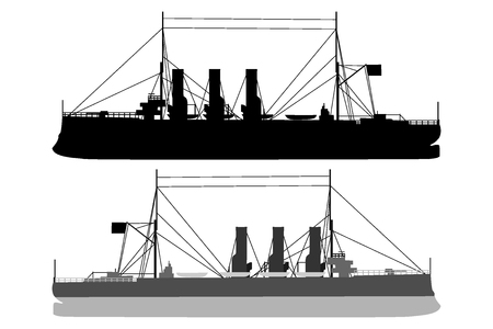 Silhouette of a ship, vector illustration in black and white.