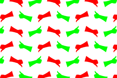 hands up and thumbs down pattern on white background, Vector illustration. 向量圖像