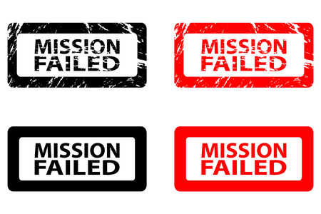 Mission failed  rubber stamp     black and red Vector illustration. 矢量图像