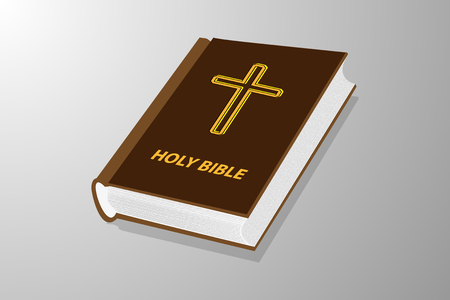 Holy book, Book with cross vector illustration - brown and yellow Holy bible.