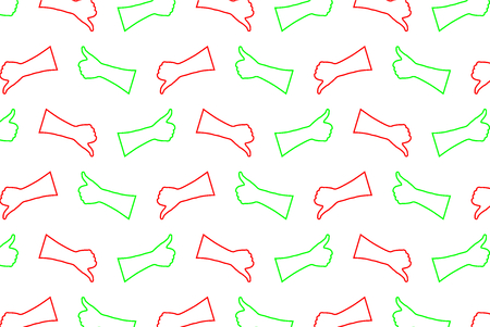 Hand thumb up and thumbs down in green and red vector pattern.