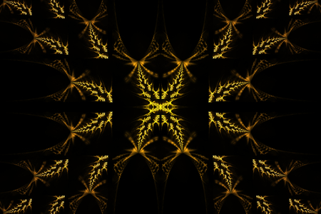 Beautiful fractal shapes illustration - background, Fractal shapes fantasy pattern - yellow and black