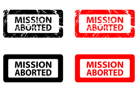 Mission aborted   rubber stamp   vector   black and red