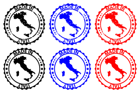 Made in Italy - rubber stamp - vector, Italy map pattern - black, blue and red