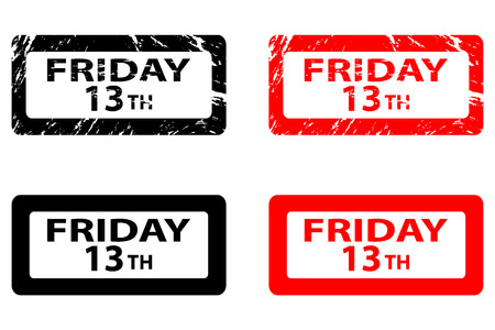 Friday the 13th - grunge rubber stamp - black and red, Friday thirteenth, Friday 13 - sticker,