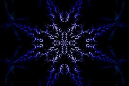 Beautiful fractal shapes illustration - background, Fractal shapes fantasy pattern - blue and black  Stock Photo