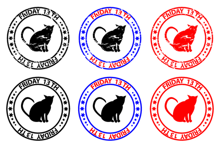 Friday the 13th - cat - grunge rubber stamp - black and red, Friday thirteenth, Friday 13 - sticker,  Illustration