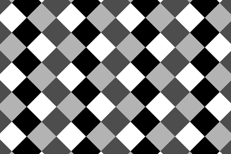 Square vector pattern, Rhombus background - black and white Illustration
