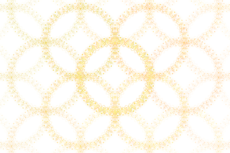 Bright abstract fractal gold circle, Fractal ring fantasy pattern - yellow and white