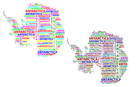 Sketch Antarctica letter text continent, Antarctic word - in the shape of the continent, Map of continent Antarctica - color vector illustration Illustration
