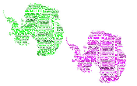 Sketch Antarctica letter text continent, Antarctic word - in the shape of the continent, Map of continent Antarctica - green and purple vector illustration