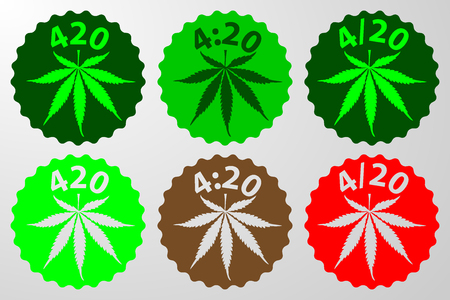 Marijuana leaf - 420, 4:20, 420 text green, brown  and red vector illustration, International day for cannabis, April 20, Illustration