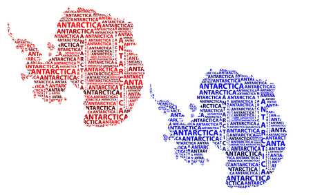 Map of continent Antarctica in red and blue vector illustration