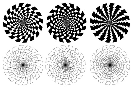 Black and white spirals of the rectangles radial expanding from the center, Optical illusion - chessboard swirl,