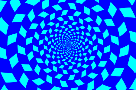 Blue spirals of the rectangles radial expanding from the center, Optical illusion - chessboard swirl,