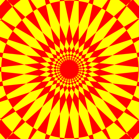 Abstract geometric pattern  red and yellow, Circular mathematical ornament,