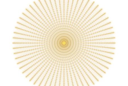 Bright abstract fractal yellow sun, Fractal star fantasy