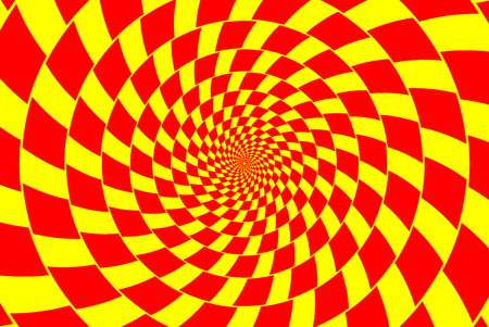 Red and yellow spirals of the rectangles radial expanding from the center, optical illusion chessboard swirl.