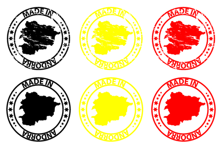 Made in Andorra  rubber stamp  vector, Andorra map pattern  black, yellow and red Illustration