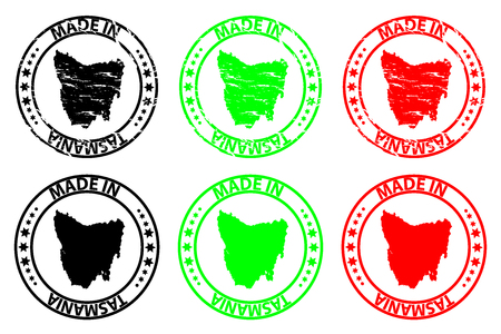 Made in Tasmania rubber stamp in black, green and red colors.