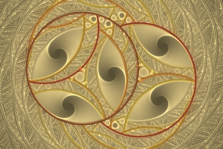 Beautiful fractal round pattern - background, Fractal circle fantasy pattern - yellow and brown