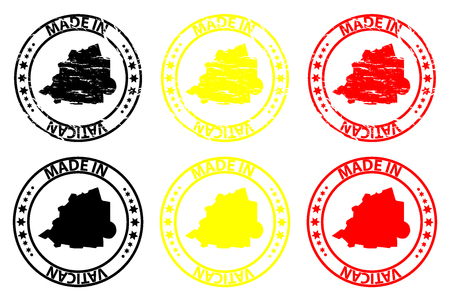 Made in Vatican - rubber stamp - vector, Holy See map pattern - black, yellow and red 向量圖像