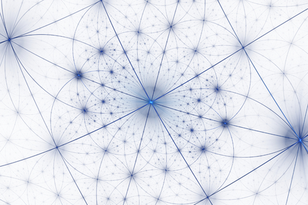 Beautiful fractal shapes illustration - background, Fractal shapes fantasy pattern - blue and white