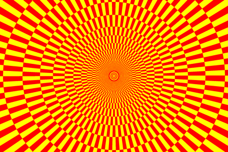 Red and yellow spirals of the rectangles radial expanding from the center, Optical illusion - chessboard swirl,