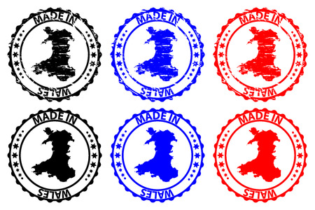 Made in Wales  rubber stamp  vector, Wales map pattern  black, blue and red