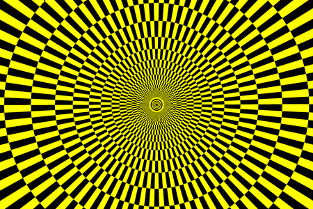 Black and yellow spirals of the rectangles radial expanding from the center, Optical illusion - chessboard swirl.