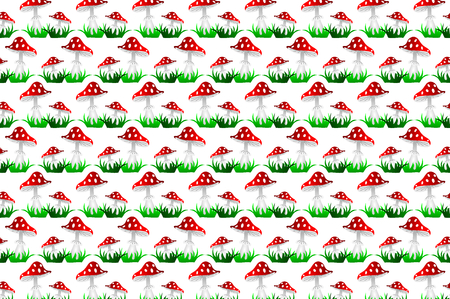 Toadstool red - vector pattern,(Amanita muscaria), Fly agaric, Fly amanita,