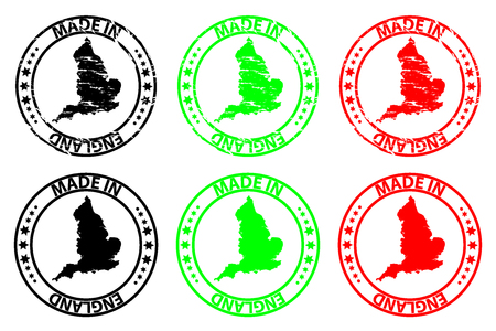 Made in England - rubber stamp - vector, England map pattern - black, green and red