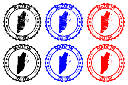 Made in Belize  - rubber stamp - vector, Belize  map pattern - black, blue and red