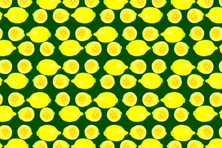 Lemon on green background - vector pattern