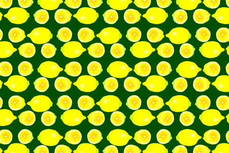 Lemon on green background - vector pattern