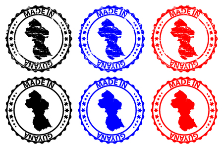 Made in Guyana  rubber stamp vector. Guyana map pattern in black, blue and red.