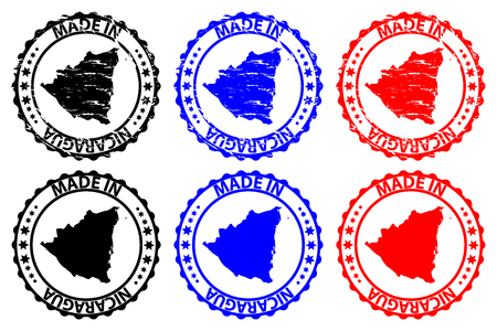 Made in Nicaragua  rubber stamp  vector, Nicaragua map pattern  black, blue and red