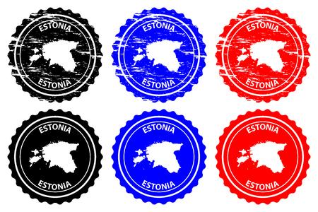Estonia  rubber stamp  vector, Estonia map pattern  sticker  black, blue and red Stock Illustratie