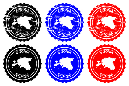 Estonia  rubber stamp  vector, Estonia map pattern  sticker  black, blue and red Illustration